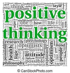考え, ポジティブ, 概念, タグ, 雲