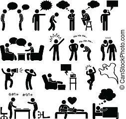考え, 話し, 人, 冗談を言うこと, 人々