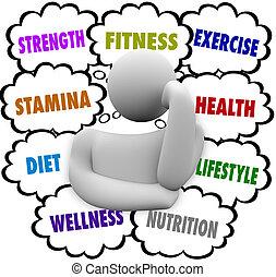 考え, wellness, 食事, 人, 計画, 言葉, フィットネス運動