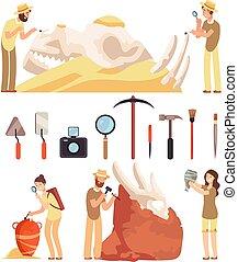 考古学, artifacts., work., ベクトル, 考古学者, tools., 歴史的, 発見しなさい, 仕事, セット, archaeologic, 特徴, paleontologist