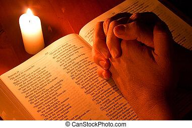 聖書, ライト, 祈とう, 手を折った, ろうそく