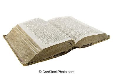 聖書, 古い, 非常に, 型, 上に, 隔離された, 背景, 白, 読書, 開いた