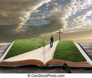 聖書, 開いた, 交差点, 人