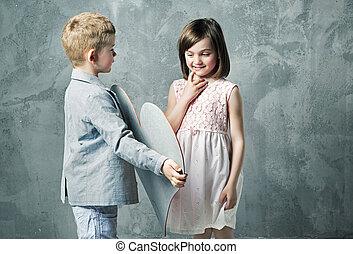 肖像画, わずかしか, 子供, ロマンチック, 2