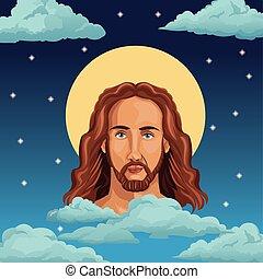 肖像画, イエス・キリスト, 背景, 夜