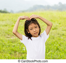 肖像画, 女の子, 若い, アジア人