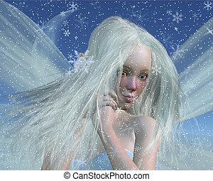 肖像画, 寒い, 冬, 妖精