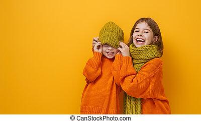 肖像画, 幸せ, 冬, 子供