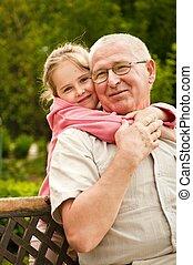 肖像画, -, 愛, 孫, 祖父母