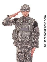 肖像画, 挨拶, 軍, 人, ユニフォーム