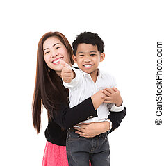 肖像画, 男の子, 幸せ, 母