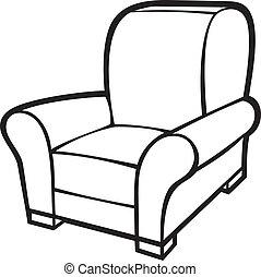 肘掛け椅子, タブ, chair), (leather