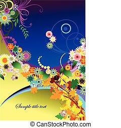 背中, 抽象的, 夏, 花