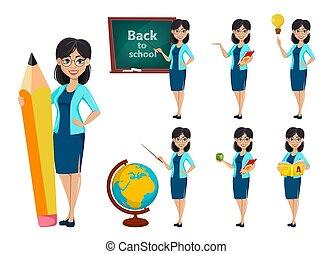 背中, school., 教師, 漫画, 女, 特徴