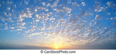 背景, の間, パノラマ, 日没の 空