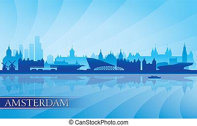 背景, アムステルダム, スカイライン, 都市, シルエット