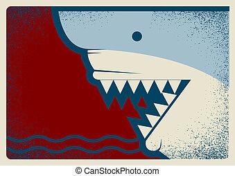 背景, イラスト, デザイン, ポスター, サメ