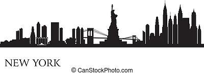 背景, スカイライン, 都市, ヨーク, 新しい, シルエット