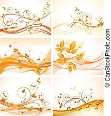 背景, セット, 花, 抽象的