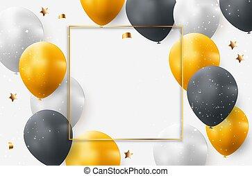 背景, ベクトル, イラスト, balloons., 休日