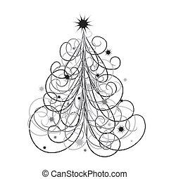 背景, ベクトル, 木, クリスマス