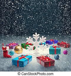 背景, ボール, クリスマスの ギフト, 箱, 大きい, snow., 概念, 雪片