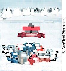 背景, 休日, クリスマスの ギフト, boxes., vector.
