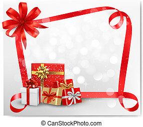 背景, 休日, 贈り物, boxes., vector., 弓, 赤