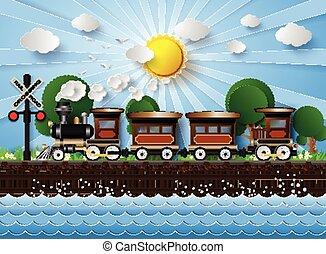 背景, 列車, 日光