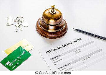 背景, 形態, ホテルの受信, 机, 白, 予約