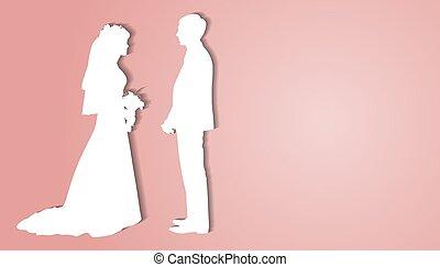 背景, 恋人, ブランク, 花嫁, 見る, 他。, シルエット, 花婿, 手掛かり, flowers., それぞれ, 花束, ベクトル