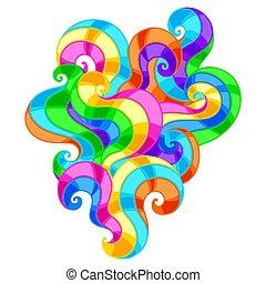 背景, 有色人種, swirls., 抽象的