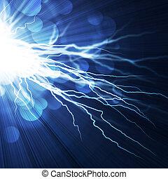 背景, 電子ブルー, フラッシュ, 稲光