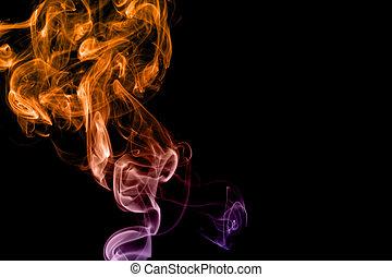 背景, 黒, 有色人種, 煙, 隔離された