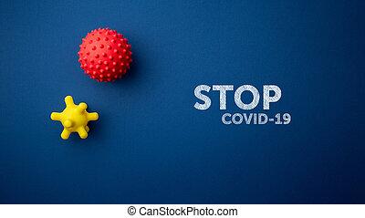 背景, covid-19, テキスト, 青, ウイルス, 止まれ