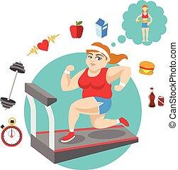 脂肪, ベクトル, girl., スポーツ