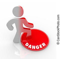 脅威, 危険, 警告された, ボタン, 危険, 人, 赤