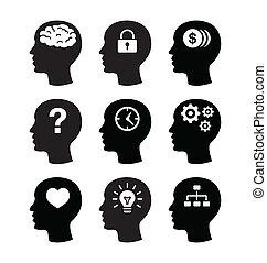 脳, ヘッドホン, vecotr, アイコン