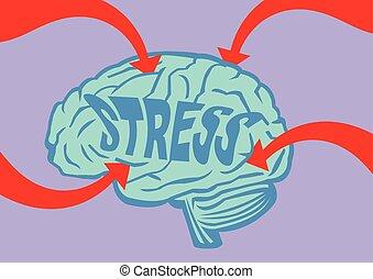 脳, ベクトル, 強調された, イラスト, から