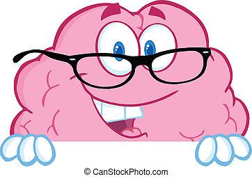 脳, 上に, ガラス, 印