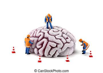 脳, 労働者, 建設, concept:, 点検