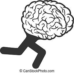 脳, 動くこと, ベクトル, アイコン