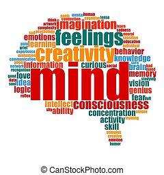 脳, 形, 単語, 心, 雲