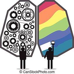 脳, 権利, デザイン, 左