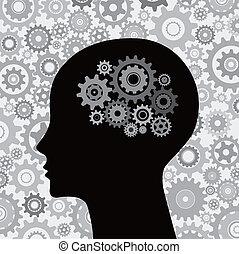 脳, 頭, ギヤ, 背景