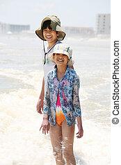 膝, 海原, 海洋 波, 子供