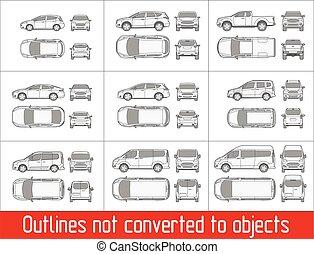 自動車, アウトライン, バン, 光景, ない, すべて, オブジェクト, 図画, 変えられる, セダン, suv