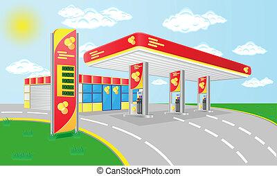 自動車, ガソリン, ベクトル, 駅