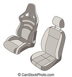 自動車, セット, 隔離された, 席