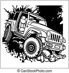 自動車, テンプレート, ∥あるいは∥, モノクローム, ラベル, offroad, バッジ, ロゴ, 紋章, suv